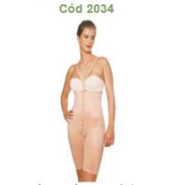 Cinta bermuda com cintura alta, colchetes e alças destacáveis Código 2034